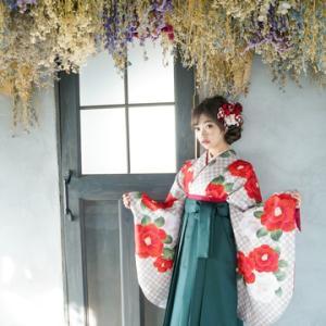 卒業式袴カタログ 椿柄はかま用着物&こい緑はかま