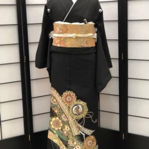 【留袖 色留袖レンタル】 黒留袖-熨斗に紋柄