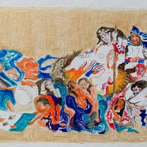 作品『コロナ退散祈願・模写「北斎作、須佐之男命厄神退治之図」』