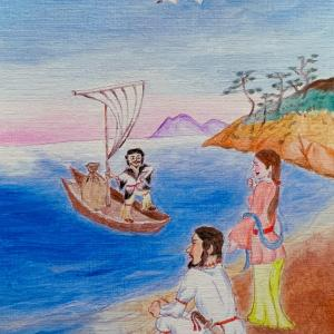 コロナ退散祈願作品・その五『薬祖神少名毘古那神来訪之図』