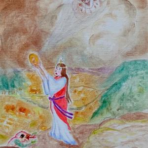 コロナ退散祈願作品・その六『百襲姫預言之図』