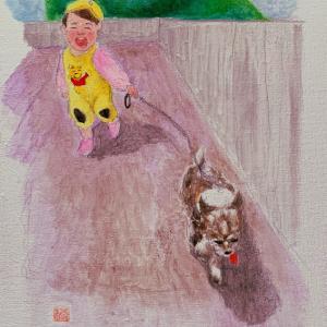 作品『孫娘と犬』