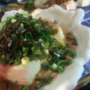 島豆腐の濃厚明太子のせ。