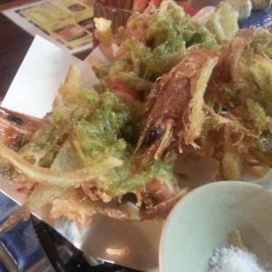 沖縄車海老とアーサのかき揚げ天ぷら