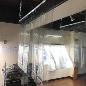 自作の飛沫感染予防対策透明ビニールカーテン!