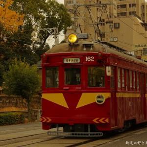 やっと走っているところを・・阪堺のモ161形162号を撮影