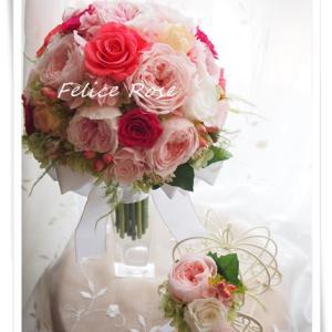 【オーダー】ピンク系オールラウンドクラッチブーケ&ブートニア セット写真