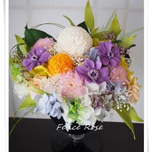 【新作】ピンポンマム・ジニアの仏花