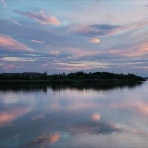 川沿いの夕焼け