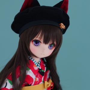 DDH-01カスタムヘッド(難あり)+MDDサイズ椿と黒猫着物衣装セット