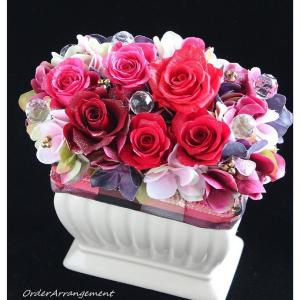 ◆母の日に真っ赤なバラのプリザーブドフラワーアレンジを☆オンラインショップからオーダー頂きました