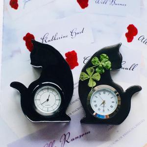 ◆お花を入れないインアリウムも素敵です☆黒猫のアニマル時計