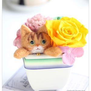 ◆猫のお悔やみアレンジ☆羊毛フェルトで愛猫ちゃんを作ります