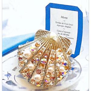 ◆スワロフスキーで作る【マーメイドシェル】ブローチ☆母の日プレゼントに母娘お揃いアクセサリー