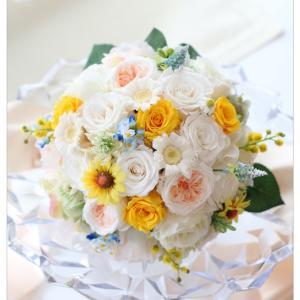 ◆花嫁様のブライダルブーケ作り☆イメージカラーを取り入れた自分らしいラウンドブーケ