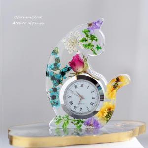 ◆小花いっぱいインアリウムのアニマル時計【ネコ】☆レッスン、オーダー制作ともに承ります