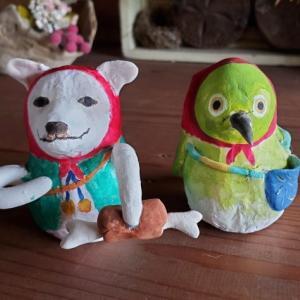 張り子人形オーダー~犬とメジロ