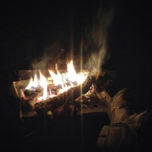 今日も湖畔で焚き火