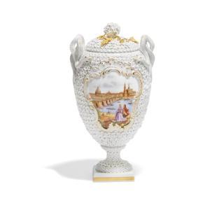 マイセン スノーボール装飾花瓶「ドレスデン―カナレットの光景」