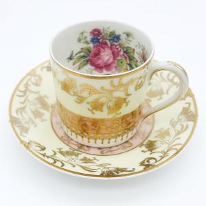 リモージュ カップ&ソーサー 薄緑 桃花色 花柄 金彩