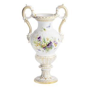 マイセン 花瓶 「パンジーとバロックハンドル」