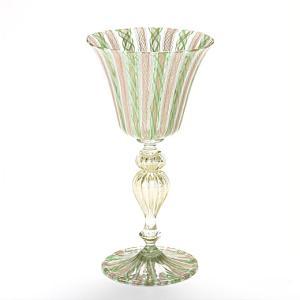 ヴェネチアガラス バラリン ワイングラス ゴールド×グリーンレース