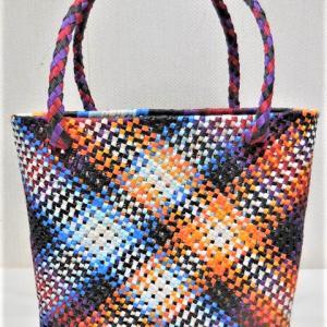 ■クラフトバンドでななめ石畳(四つだたみ)編みの買い物バッグ