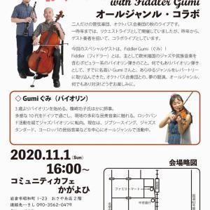 11/1(日)オクトパス合奏団秋のライブ with Fiddler gumi