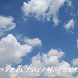 フォトコト『青空が暑さをまとい太陽と色鮮やかに染めあげる夏』
