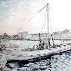 哀愁溢れる故郷の漁港の風景