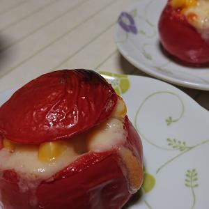 コーンとハムのトマトカップ