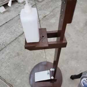 完成!足踏み式消毒スタンド