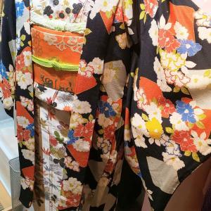 アンティーク長羽織り~菱形に椿 刺繍入り~