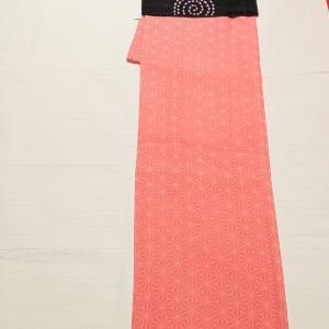 麻の葉柄の小紋~アンティーク刺繍の名古屋帯~