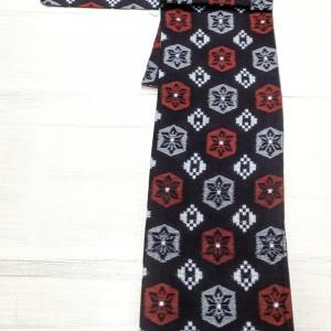 単衣の久留米絣~博多織りの半幅帯 変わり独古柄~