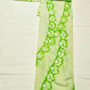 有松鳴海絞り浴衣~黄緑色 小柄な方向き~