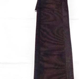 紗のお着物 黒地に朱色ストライプ~猫レースと猫と手毬柄の半幅帯~