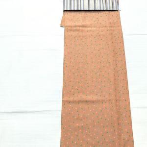 単衣の小紋 茄子柄~珍しい織りの名古屋帯~