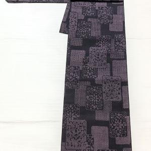 黒×薄紫色の紬~博多織りの半幅帯~