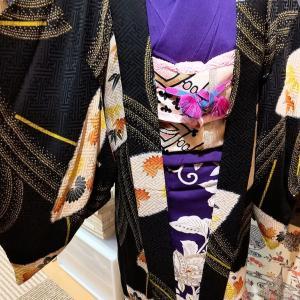 アンティーク長羽織り~黒地に雅な傘柄~