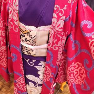 アンティーク長羽織り 裄65~極上縮緬 鳳凰と蝶々~