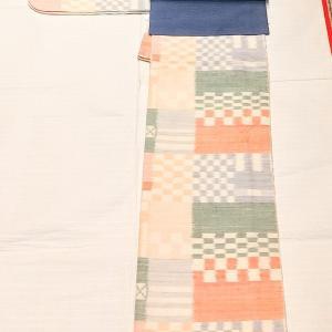 カラフルな市松模様の紬~水玉と麻の葉柄の名古屋帯~