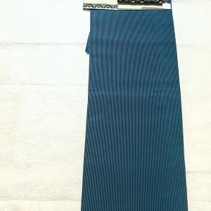 孔雀青色に黒ストライプ~モノクロのコットンリネン名古屋帯~