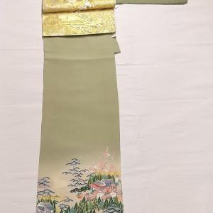 抹茶ミルク色の訪問着~川島織物の松竹梅柄 袋帯~