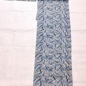 単衣の紬 藍染 山口秀荻作~八重山みんさーの半幅帯 未使用品~