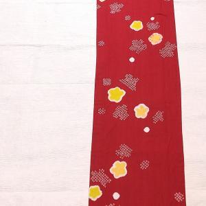 絞りの浴衣~赤色に黄色のお花~