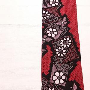 有松鳴海絞りの浴衣 赤色×黒色~本場黄八丈の半幅帯~