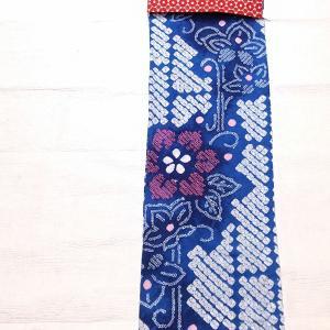 有松鳴海絞り浴衣~明るめの青にお花柄 レース名古屋帯~