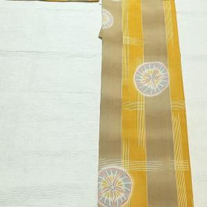 朝顔柄のセオα浴衣 ~Sサイズ 博多織の半幅帯~