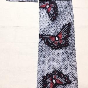 有松鳴海絞り浴衣 蝶々柄~八重山みんさーの半幅帯~